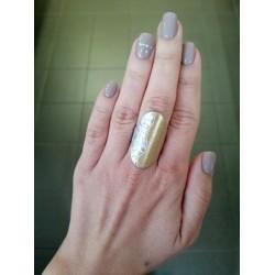 Δαχτυλίδι μακρόστενο ασημί και χρυσό