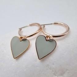 Σκουλαρίκια Heart grey Enamel