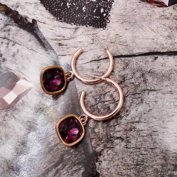 Σκουλαρίκια Oberon Crystal purple